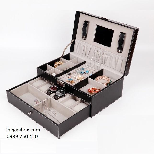 Hộp đựng đồng hồ 6 ngăn và trang sức vỏ da cao cấp, giá rẻ
