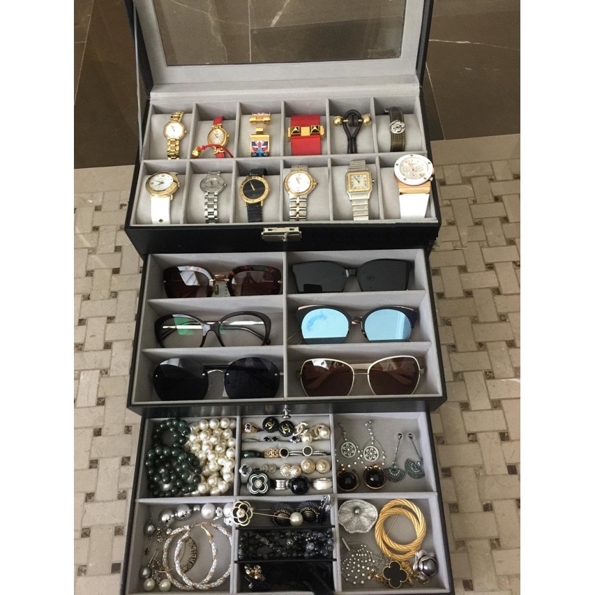 Hộp đựng đồng hồ, mắt kính và trang sức 3 tầng vỏ da cao cấp, giá rẻ