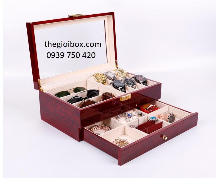 Hộp đựng đồng hồ, mắt kính và trang sức bằng gỗ cao cấp, giá rẻ