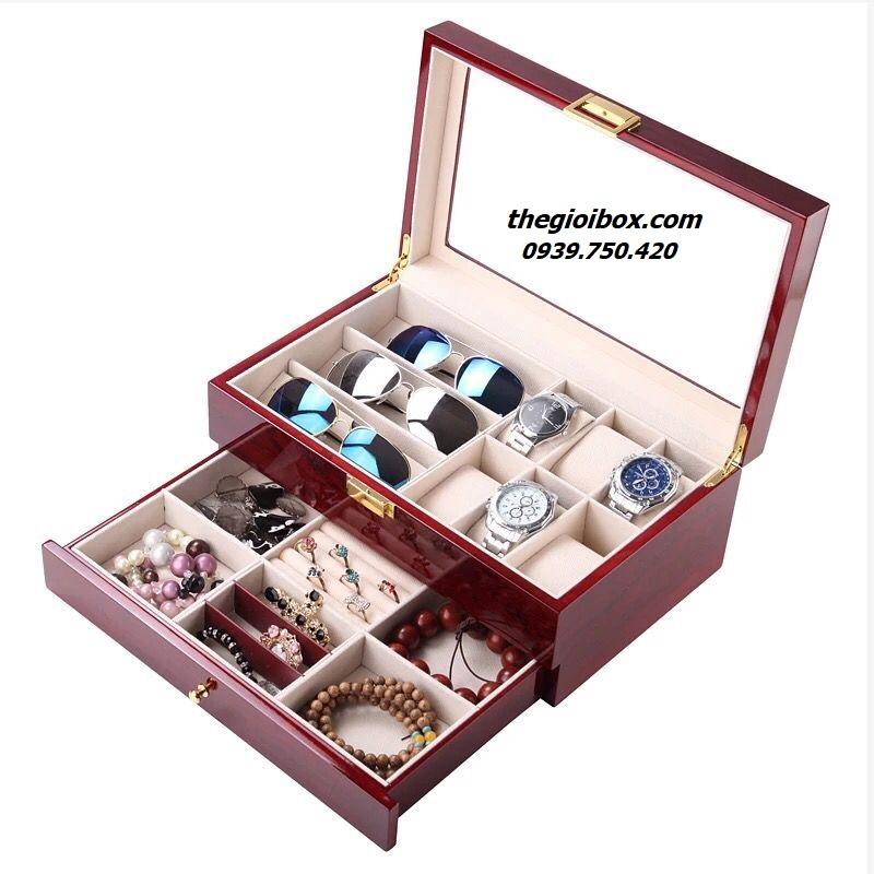 bán hộp đựng đồng hồ trang sức bằng gỗ 2 tầng