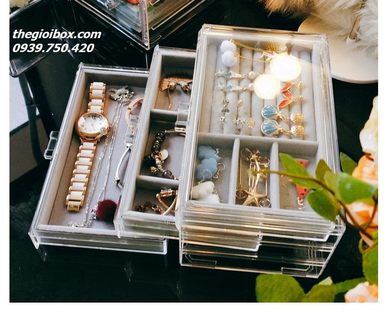 hộp đựng phụ kiện trang sức trong suốt 3 tầng nhiều ngăn