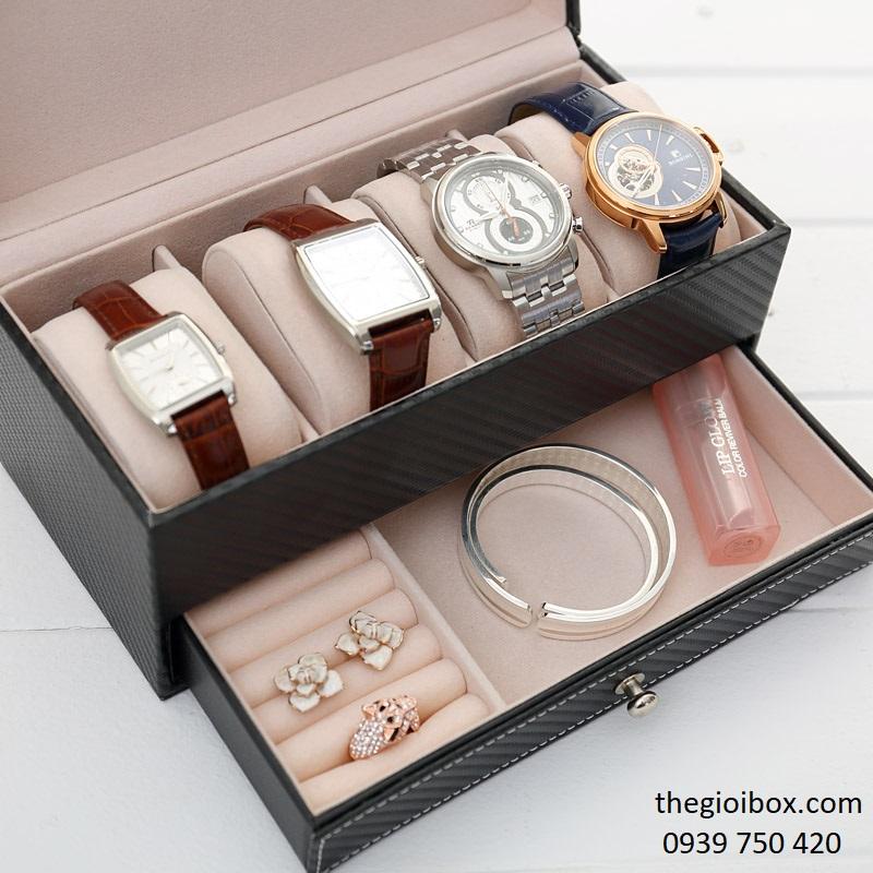 Hộp đựng đồng hồ 4 ngăn và trang sức bằng da sang trọng, giá rẻ