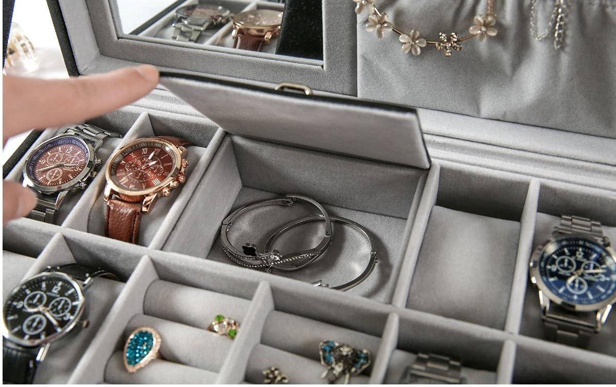 Hộp đựng trang sức và đồng hồ 8 chiếc bằng da cao cấp, giá rẻ tphcm