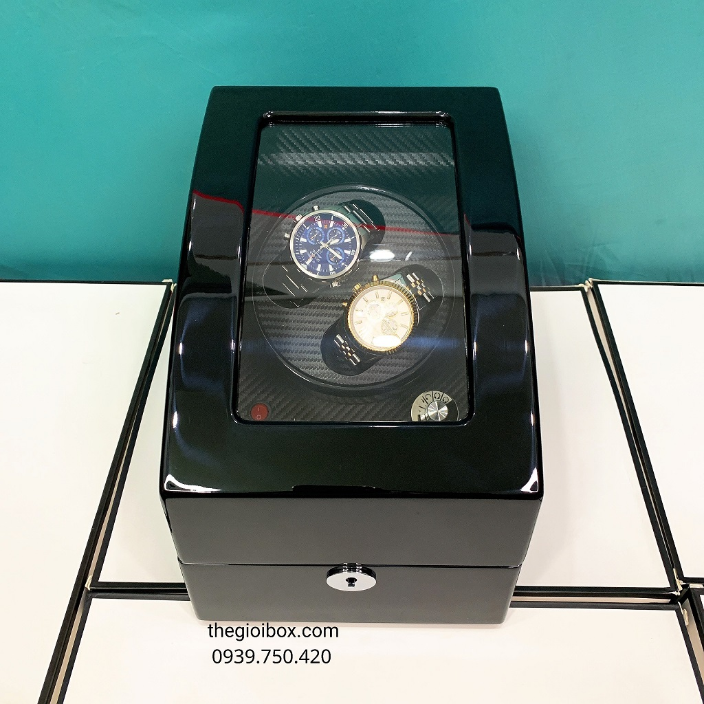 Hộp đựng đồng hồ cơ 2 xoay + 3 tĩnh vỏ gỗ màu đen bóng cao cấp