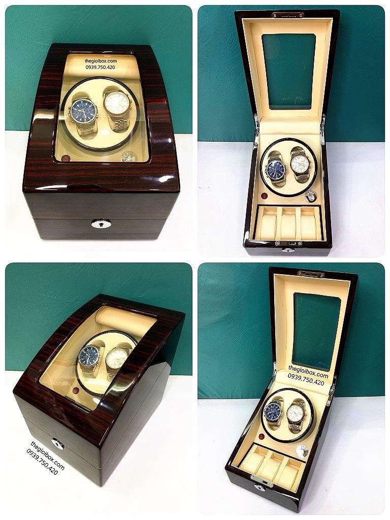 Hộp đựng đồng hồ cơ 2 xoay + 3 tĩnh vỏ gỗ cao cấp có đèn led