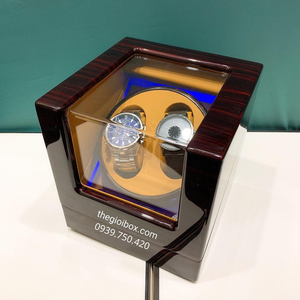 Hộp lên dây cót đồng hồ cơ 2 ngăn vỏ gỗ sang trọng có đèn led