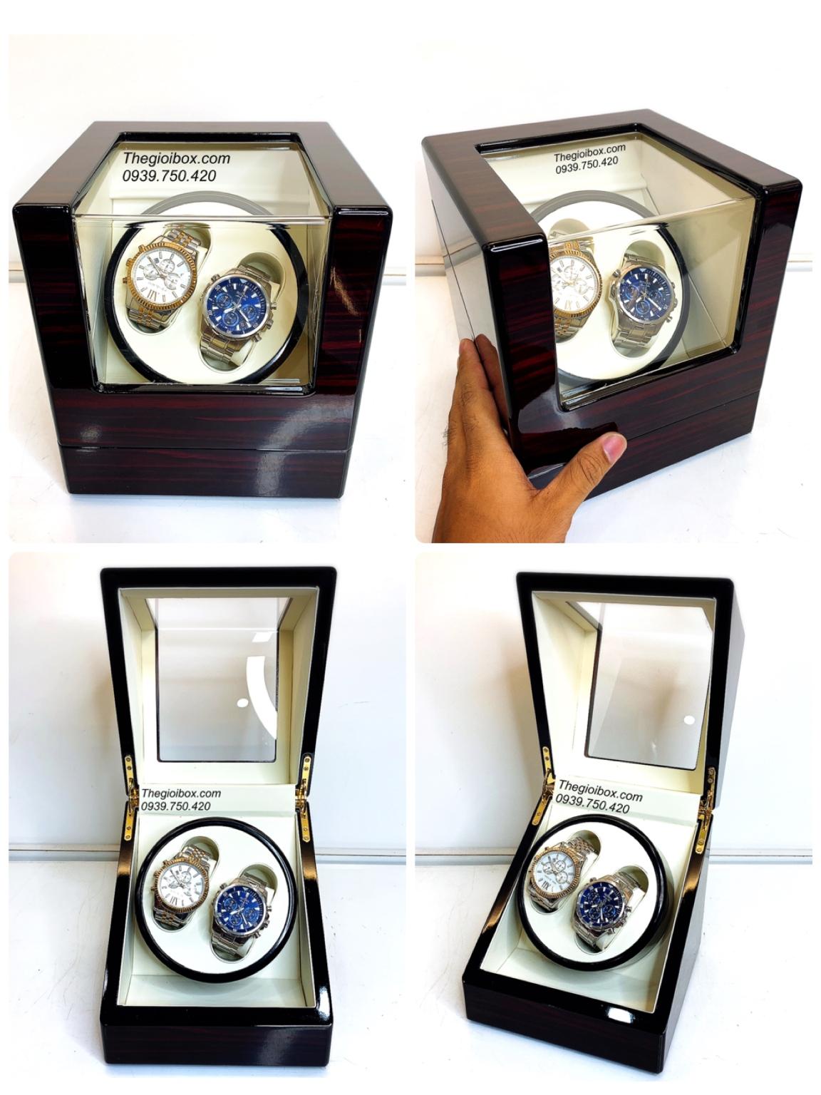 hộp xoay đồng hồ cơ 2 cái có pin vỏ gỗ màu nâu giá rẻ