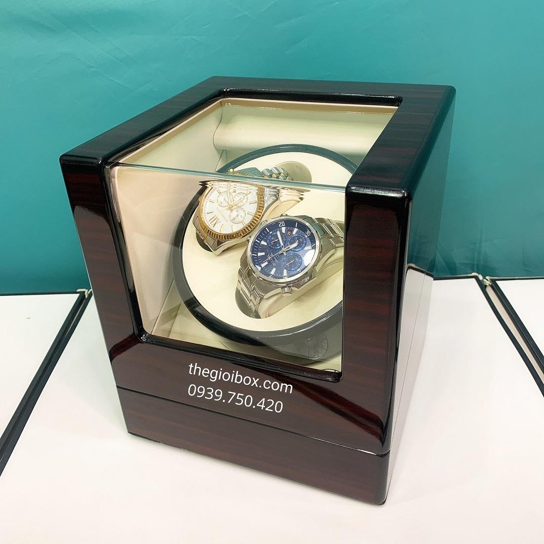 Hộp lên dây cót đồng hồ cơ 2 ngăn xoay vỏ gỗ sang trọng, giá rẻ