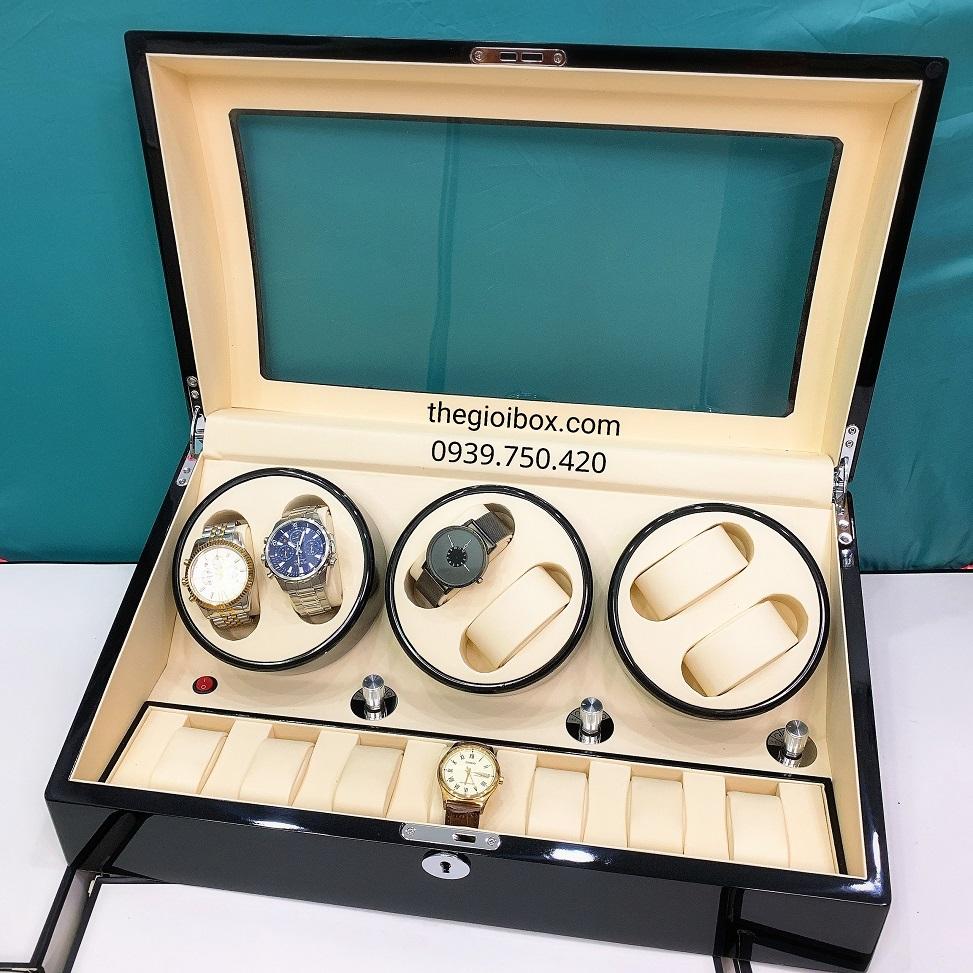 Hộp đựng đồng hồ cơ vỏ gỗ 6 xoay + 7 ngăn tĩnh cao cấp