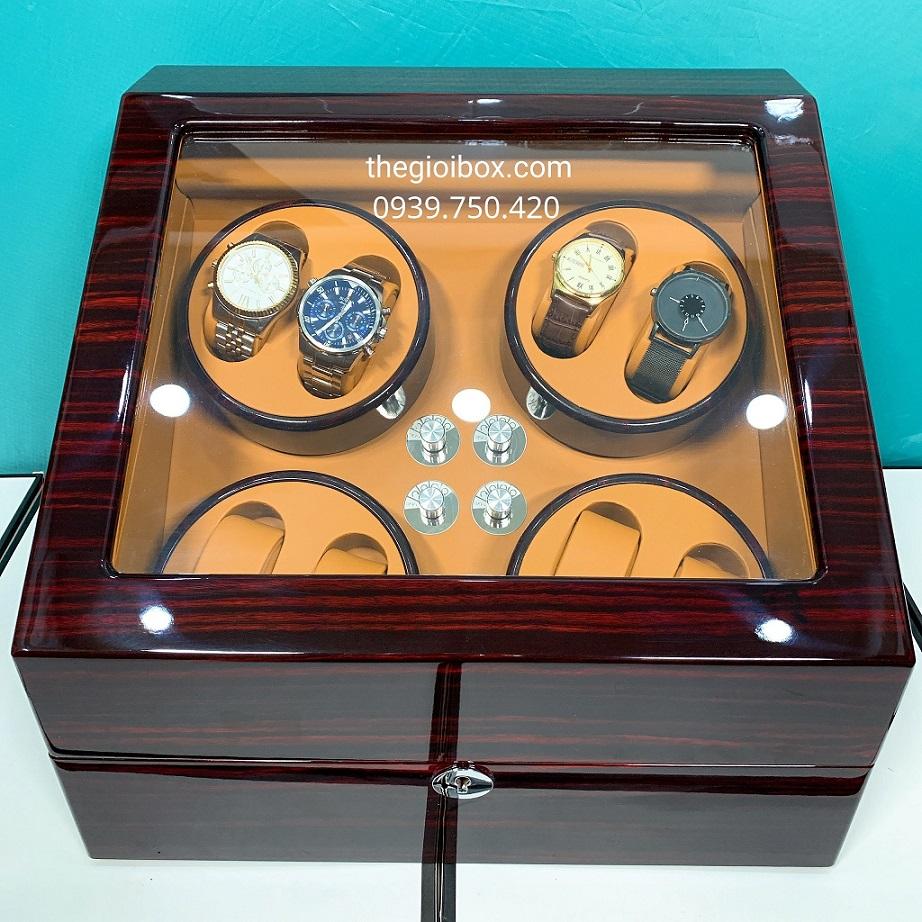 Hộp đựng đồng hồ cơ 8 xoay vỏ gỗ nhiều chế độ xoay
