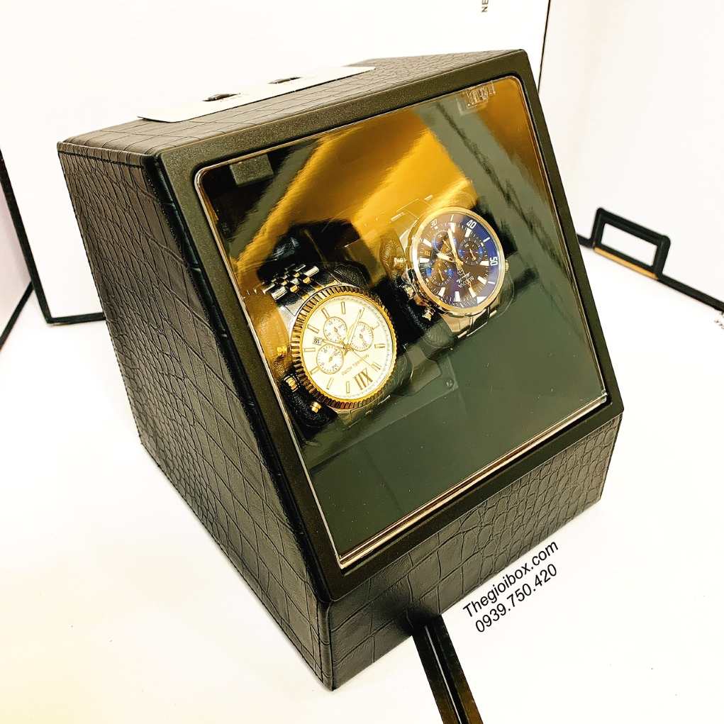 kệ hộp trữ cót lên dây đồng hồ cơ đeo tay 2 ngăn xoay nhỏ gọn
