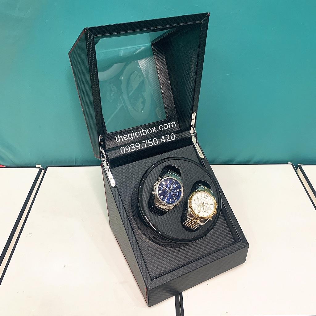 Hộp đựng đồng hồ cơ 2 ngăn xoay da cacbon cao cấp, giá rẻ