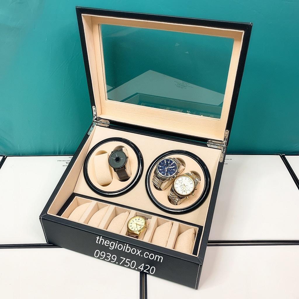 Hộp đựng đồng hồ cơ 4 xoay - 6 ngăn tĩnh vỏ da cao cấp, giá rẻ