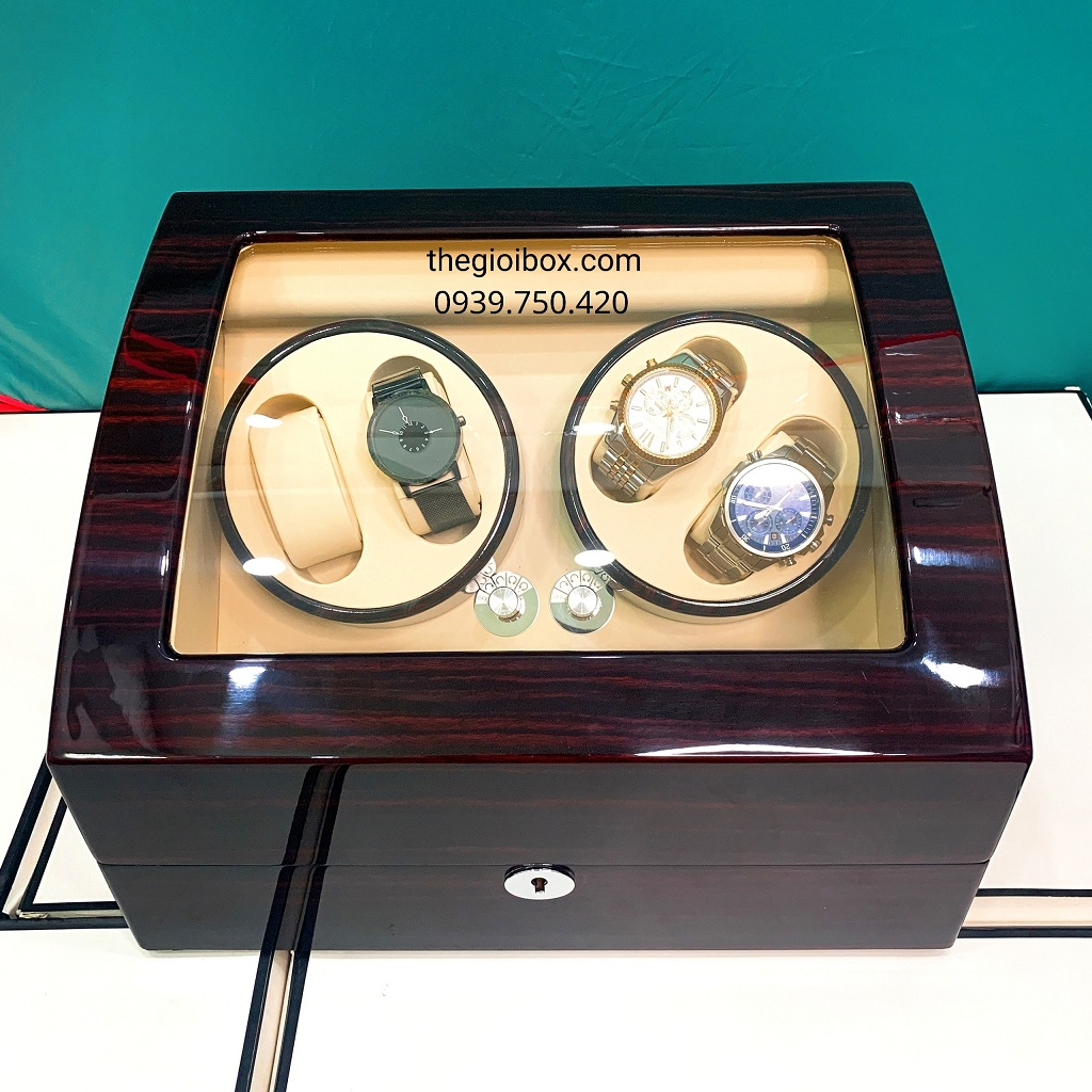 Hộp đựng đồng hồ cơ 4 xoay - 6 tĩnh vỏ gỗ cao cấp có khóa