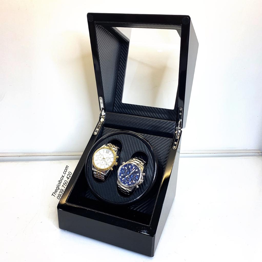 hộp xoay đồng hồ cơ 2 cái có pin vỏ gỗ giá rẻ