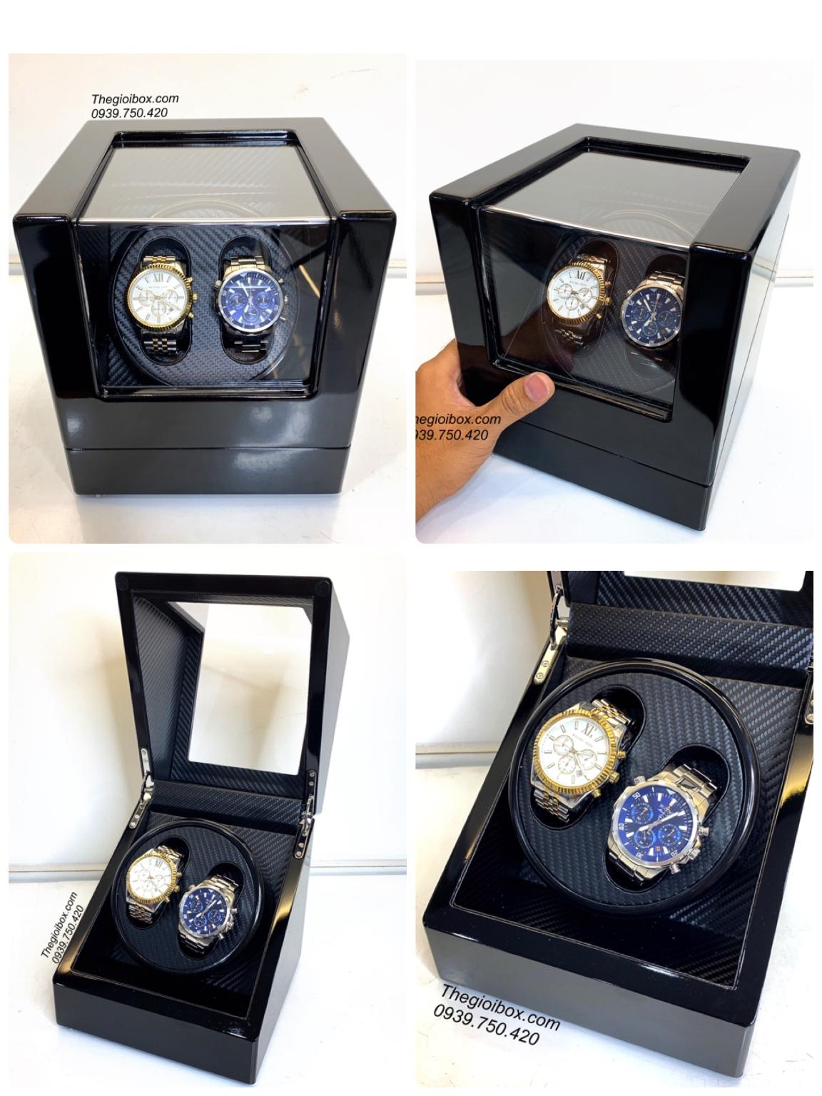 hộp xoay đồng hồ cơ 2 cái có pin vỏ gỗ màu đen giá rẻ