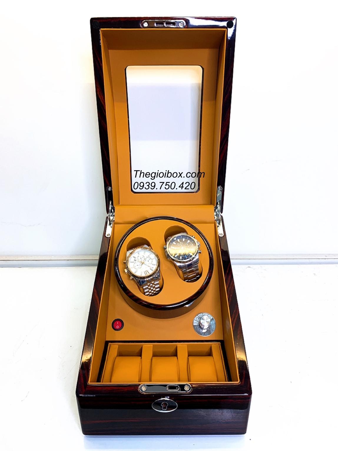 tủ hộp lắc lên cót đồng hồ cơ 2 xoay 3 tĩnh màu nâu bò, vân gỗ sang trọng