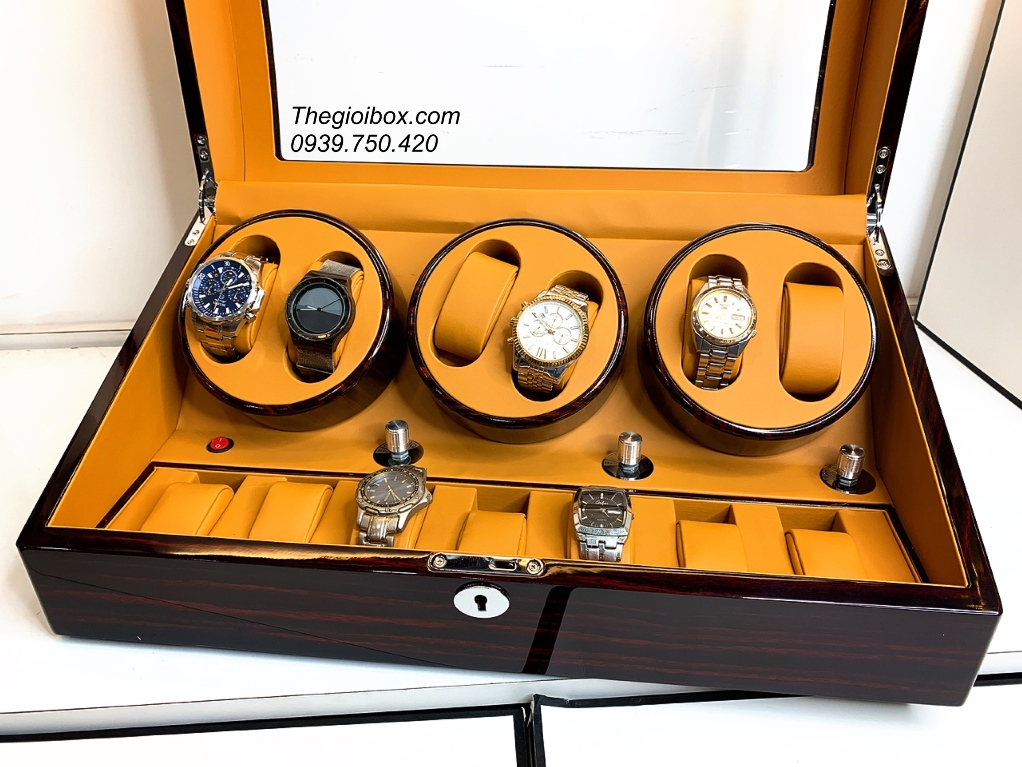 tủ hộp xoay lắc đồng hồ cơ 6 ngăn vỏ gỗ có đèn sang trọng