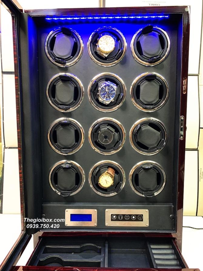 tủ hộp xoay đựng đồng hồ cơ 12 ngăn cao cấp