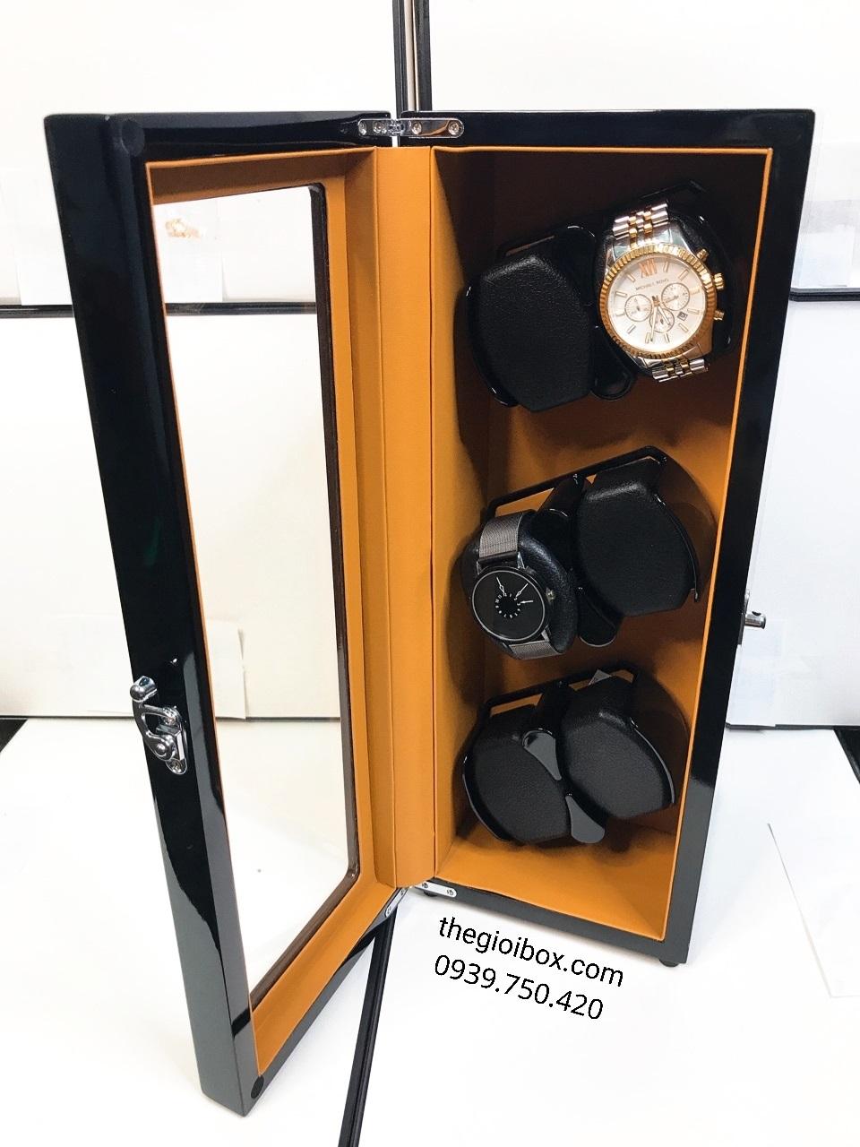 Tủ lắc đồng hồ cơ 6 ngăn xoay nhiều chế độ vỏ gỗ cao cấp