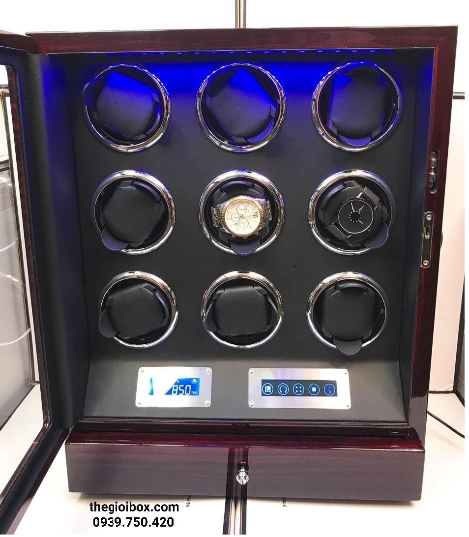Tủ lắc đồng hồ cơ 9 xoay kèm remote cao cấp