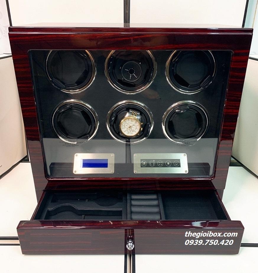 Tủ hộp xoay 6 đồng hồ cơ màn hình cảm ứng có remote