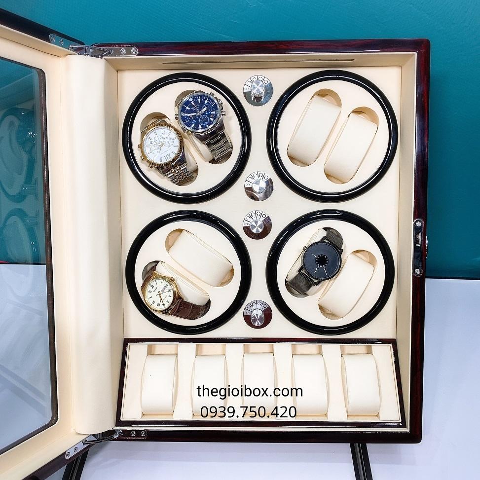 Tủ đựng đồng hồ cơ 8 ngăn xoay - 5 cố định màu nâu