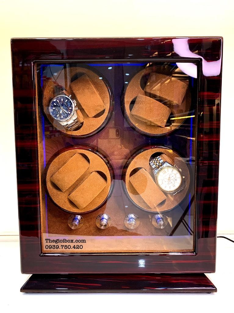 tủ lắc đựng đồng hồ cơ 8 ngăn xoay lên cót tự động lót nỉ nhung