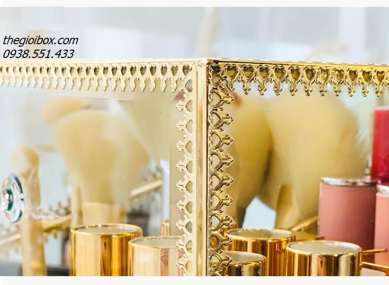 hộp đựng cọ ngọc trai, son môi, bông tẩy trang mạ vàng golden sang trọng