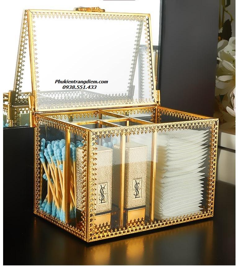 hộp khay đựng bông tẩy trang và tăm bông mạ vàng sang trọng
