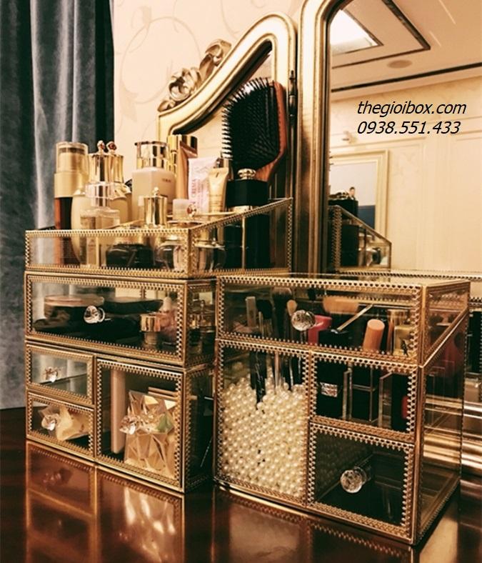 khay kệ trang điểm 3 tầng mạ vàng golden luxury sang trọng cao cấp