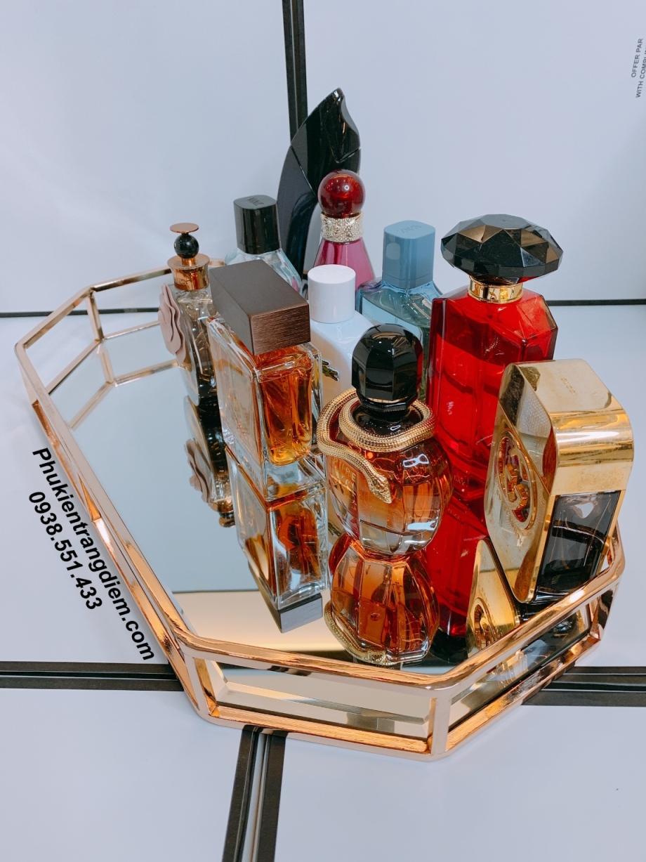 khay mạ vàng hồng đựng nước hoa mỹ phẩm trang trí nội thất