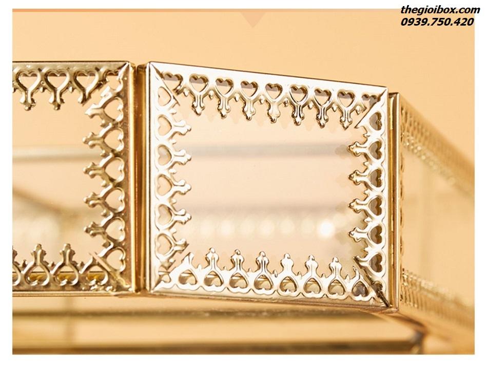 khay kệ trang điểm xoay 360 độ golden cao cấp sang trọng