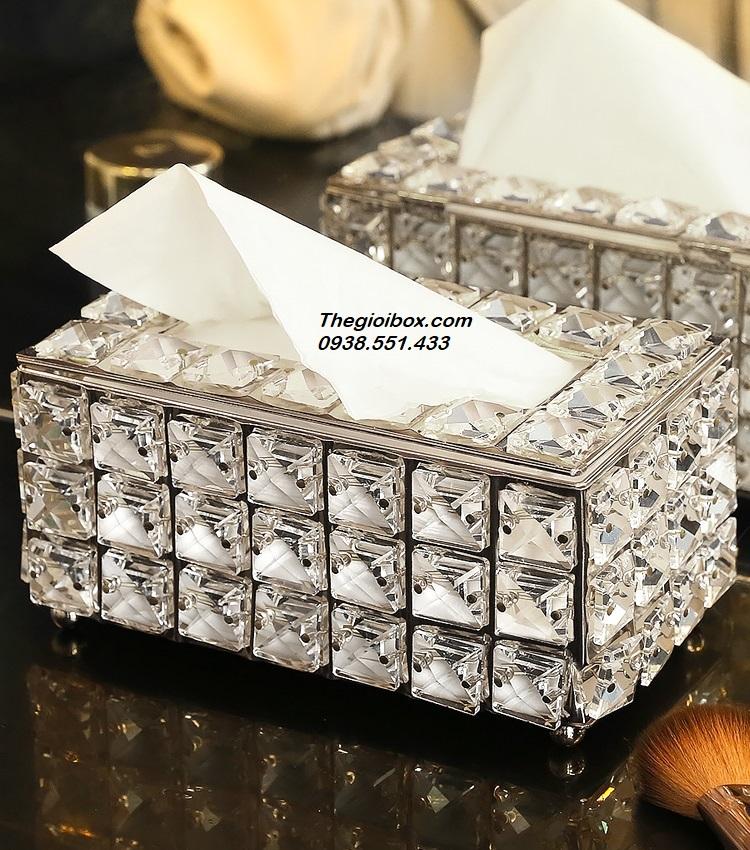 hộp đựng khăn giấy, giấy ăn pha lê mạ vàng sang trọng luxury