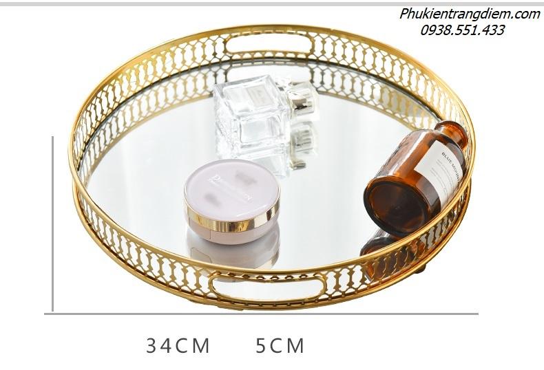 khay mạ vàng đựng đồ trang trí nội thất, nước hoa, mỹ phẩm trang điểm