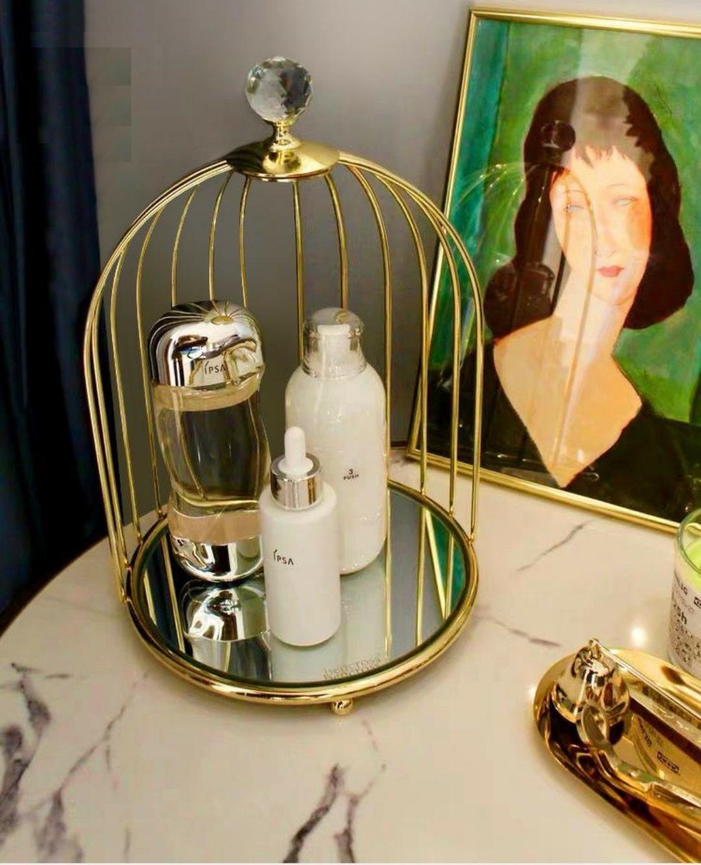 khay kệ mỹ phẩm lồng chim đựng nước hoa dầu thơm sang trọng