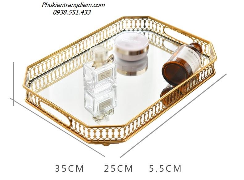khay - kệ đựng nước hoa mỹ phẩm đồ trang trí mạ vàng sang trọng đẳng cấp