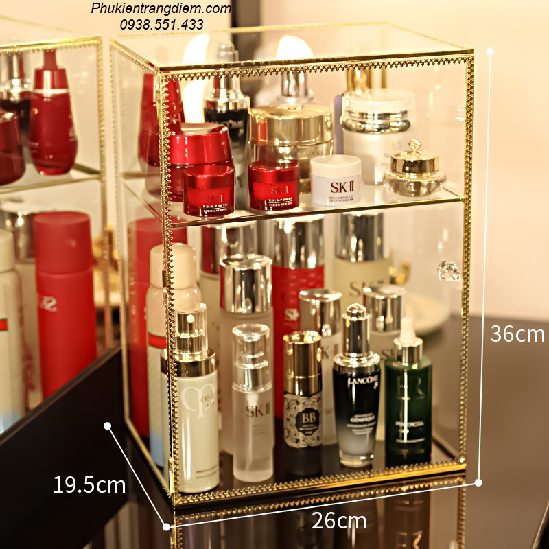 kệ tủ kính đựng nước hoa mỹ phẩm có nắp chống bụi mạ vàng golden