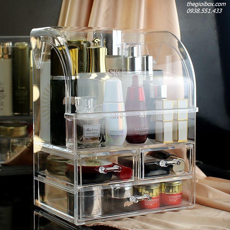 kệ tủ đựng mỹ phẩm nước hoa trang điểm nắp tròn chống bụi