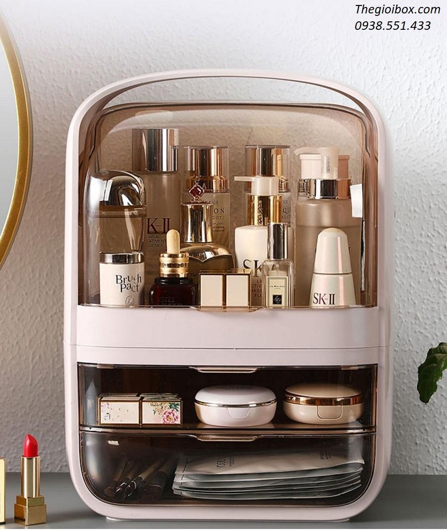 Kệ tủ đựng mỹ phẩm trang điểm có nắp chông bụi và quai xách